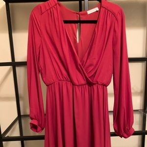 Lush Sleeve Red Dress